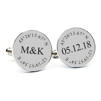 Laser Engraved Cuff links, Personalized Wedding Cufflinks, Initials and Custom Coordinates, Mens, Gift for Groom From Bride, LGC10105
