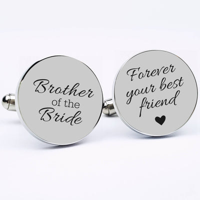 Round Stainless Steel Cuff links, Laser Engraved Personalized Cufflinks, Gift for Him, Brother of the Bride Wedding Keepsake, LGC10040