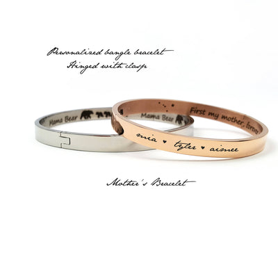 Personalized Gift for Mom, Bangle Bracelet, Custom Name Jewelry, For Wife or Girlfriend, Mother's Day, Rose Gold, Silver, LXJC100075
