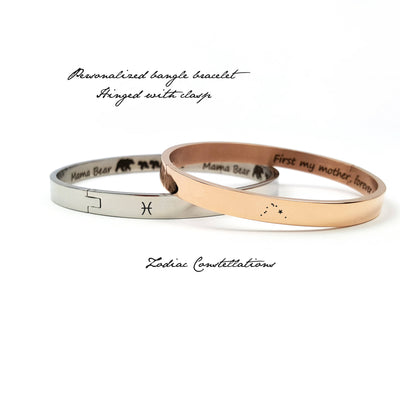 Laser Engraved Personalized Zodiac Bangle Bracelet, Celestial Jewelry, Custom Name Jewelry, For Wife or Girlfriend, LXJC100011