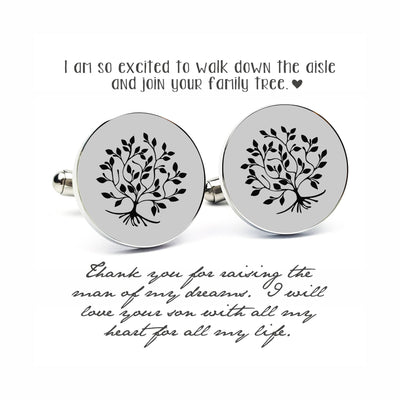 Laser Engraved Family Tree Cufflinks, Stainless Steel,  Cufflinks for Him, Father in Law Gift, Father of the Groom or Bride Gift, LGC10072