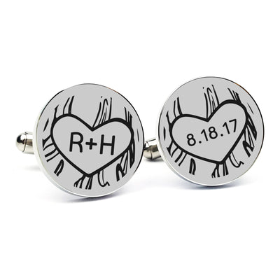Laser Engraved Personalized Cufflinks, Gift for Groom From Bride, Custom Cuff links, Anniversary, Initials Carved in Tree, LGC10103