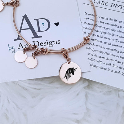 Unicorn Bracelet Magical Creature Celestial Personalized Jewelry Personalized Bracelet Expandable Charm Gift for Her for Mom, LXJC100163