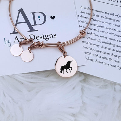 Laser Engraved Unicorn Charm Bracelet, Magical Creature Themed, Personalized Jewelry, Easy On, Gift for Her, For Girl, LXJC100162