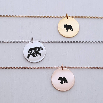 Custom Name Pendant, Mama Bear Bar Necklace, Cubs, Gift for Mom, Personalized Rose Gold or Silver Jewelry, for Her, LXJC100094