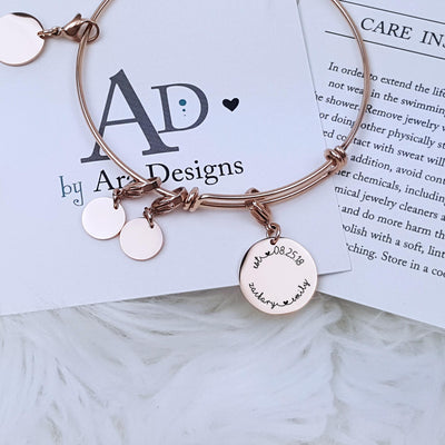 Laser Engraved Personalized Jewelry, Custom Expandable Easy On Charm Bracelet, Gift for Bride from Groom, For Anniversary, LXJC100131