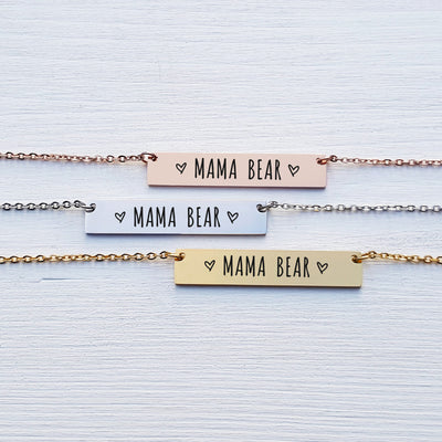 Laser Engraved Mama Bear Necklace, Gift for Mom, Bar Pendant, Personalized Jewelry, Rose Gold, Engraved, For Mother, For Her, LXJC100106
