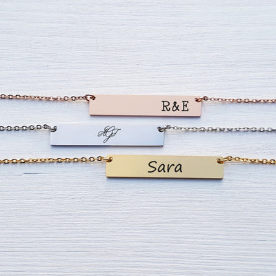 Laser Engraved Dainty Bar Necklace, Personalized Rose Gold, Silver, Mother Initials, Mother Child Jewelry for Mom, LXJC100031