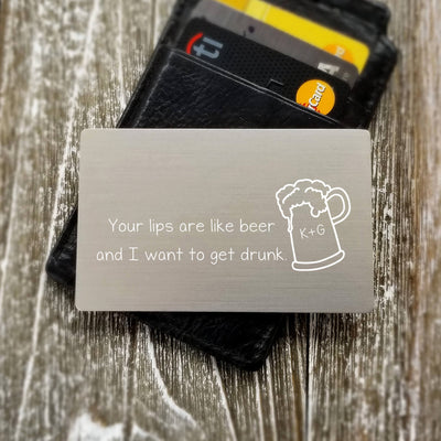 Funny Gift for Groom from Bride Beer Lover Custom Wallet Insert Card Metal Personalized Wallet Card Metal Wallet Insert Man Gift for Him