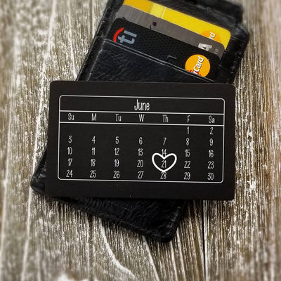 Special Gift for Groom from Bride Wedding Date Anniversary Calendar Personalized Wallet Card Metal Wallet Insert Gift for Men Gift for Him