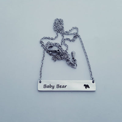 Laser Engraved Baby Bear Necklace, Bar Pendant, Rose Gold, Cubs, Jewelry, Gift for Mom, For Her, For Mother, LXJC100005