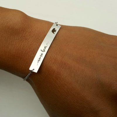 Laser Engraved Custom Coordinates Bracelet, Personalized Bar, Rose Gold, Engraved, Wife Gift, For Mom, For Best Friend, LXJC100015