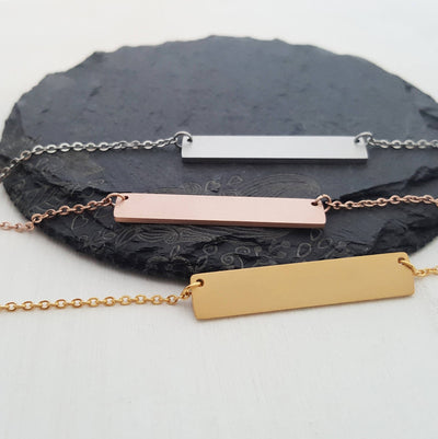 Laser Engraved Custom Coordinates Necklace, GPS, Personalized Bar, Rose Gold, Engraved, Wife Gift, For Mom, For Best Friend, LXJC100017