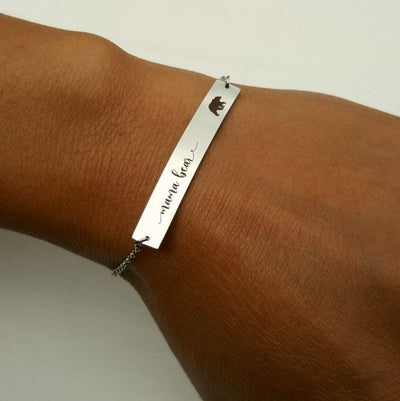Laser Engraved Dainty Bar Bracelet, Bridesmaid Gift for Her, Wedding Jewelry, Rose Gold, For Mother, Name, LXJC100024