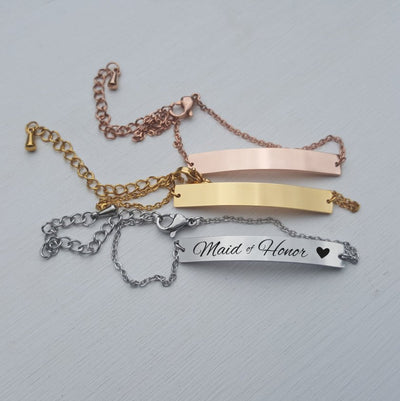 Laser Engraved Dainty Bar Bracelet, Bridesmaid Gift for Her, Wedding Jewelry, Rose Gold, Mother in Law, Name, LXJC100025