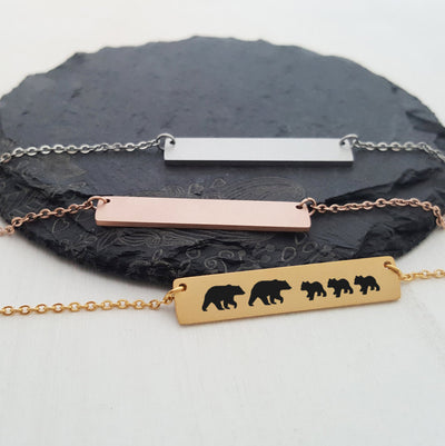 Family Bear Necklace, Matte Personalized Bar, Gold, Rose, Silver, Engraved, Bear Cubs, Baby Mom Dad Papa Mama, Gift for Mom, LXJC100040