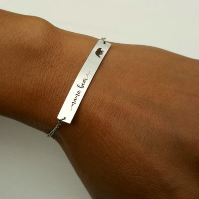 Laser Engraved Mama Bear Bar Bracelet, Personalized Jewelry for Mom, Name Plate, Gift for Wife, Mother Child, LXJC100056