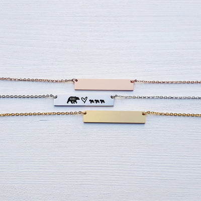 Laser Engraved New Mom Gift, Custom Name, Mama Bear Bar Necklace, Cubs, Personalized Rose Gold or Silver Jewelry, for Her, LXJC100104
