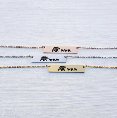 Laser Engraved Custom Name, Mama Bear Bar Necklace, Cubs, Unique Gift for Mom, Personalized Rose Gold or Silver Jewelry, for Her, LXJC100103