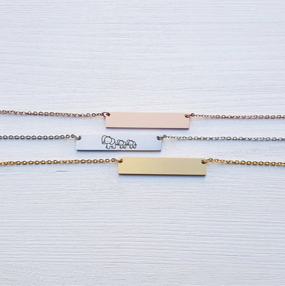 Laser Engraved Custom Name, Mama Elephant Bar Necklace, Unique Gift for Mom, Personalized Rose Gold or Silver Jewelry, for Her, LXJC100113