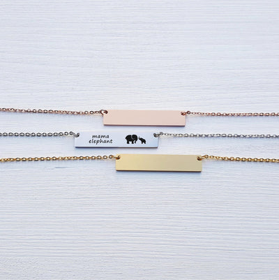 Laser Engraved Custom Name, Mama Elephant Bar Necklace, Unique Gift for Mom, Personalized Rose Gold or Silver Jewelry, for Her, LXJC100109