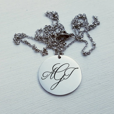 Laser Engraved Monogram Personalized Necklace, Mother of the Bride Gift, For Mother of the Groom, For Bridesmaid, Rose Gold, LXJC100061