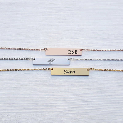 Laser Engraved Personalized Bar Necklace, Custom Name Plate, Monogram, Initials, Jewelry for Wife, Gift for Mom, For Best Friend, LXJC100067