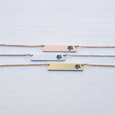 Laser Engraved Bar Necklace, Sister Gift for Her, Personalized Jewelry, Rose Gold, Silver, Engraved, For Girlfriend, For Friend, LXJC100115