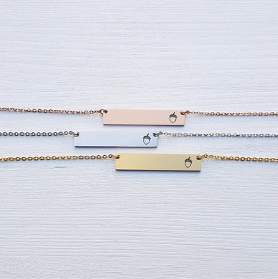 Laser Engraved Bar Necklace, Sister Gift for Her, Personalized Jewelry, Rose Gold, Silver, Engraved, For Girlfriend, For Friend, LXJC100116