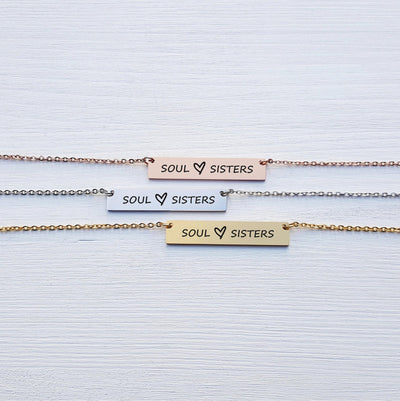 Laser Engraved Soul Sisters, Gift for Best Friend, Personalized Bar Necklace, Jewelry for Girlfriend or Wife, LXJC100117