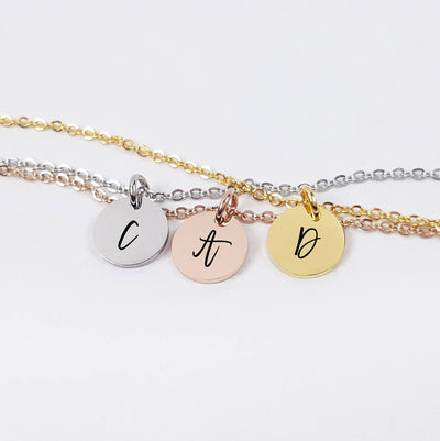Laser Engraved Tiny Pendant Necklace, Choker, Your Initials, Dainty Personalized Jewelry, Little Gift for Her, For Girls, LXJC100124