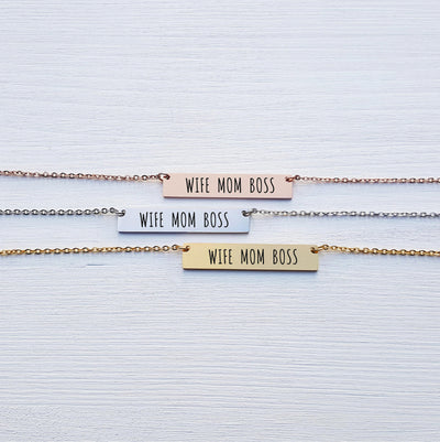 Laser Engraved Wife Mom Boss, Gift for Her, Personalized Bar Necklace, Empowering Jewelry, Gift for Girlfriend Wife, LXJC100121