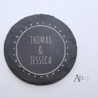 Personalized Slate Coasters Engraved Personalized Coaster Custom Coaster Personalized Wedding Gift Housewarming Gift Couple Gift 1