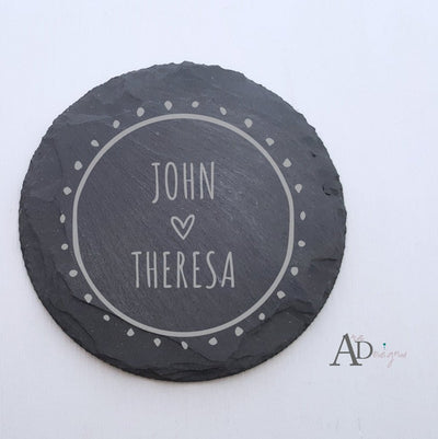 Laser Engraved Personalized Slate Coasters,  Personalized Coaster, Custom Wedding Gift, Housewarming Gifts, For Couple, FAM10016