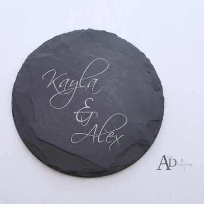 Laser Engraved Personalized Slate Coasters,  Personalized Coaster, Custom Wedding Gift, Housewarming Gifts, For Couple, FAM10021