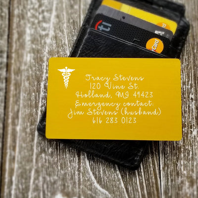 Emergency Contact Information Card Personalized Wallet Card Custom Wallet Insert Card Metal Emergency Contact Information Wallet Card