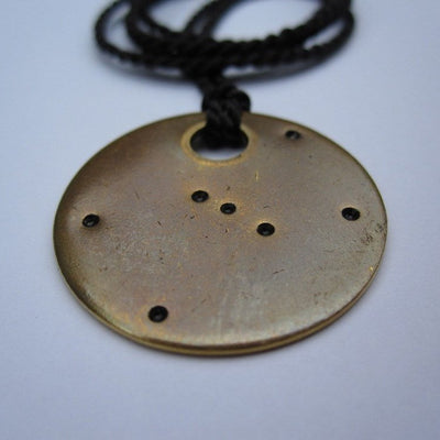 Big Dipper and Polaris - Ursa Minor - Constellation - Brass Tag - Mama Bear - Baby Bear - Round - Pendant Necklace - Charm Bracelet