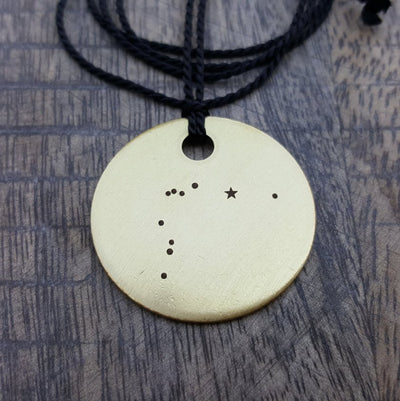 Laser Engraved Custom Necklace,  Zodiac Constellations, Large, Round, Brass Tag, Dainty Pendant, Keychain, Gift for Her,  LGC10059