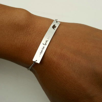Laser Engraved Dainty Bar Bracelet, Personalized Jewelry, Gifts for Mom, Mother in Law Gift, Custom Name Plate, LGC10061