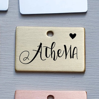 Engraved Rectangle Dog Tag, Brass Pet ID, Double Sided, Custom Name, Personalized Gift, Metal, For Collar, Modern, For Christmas, LPTC10062