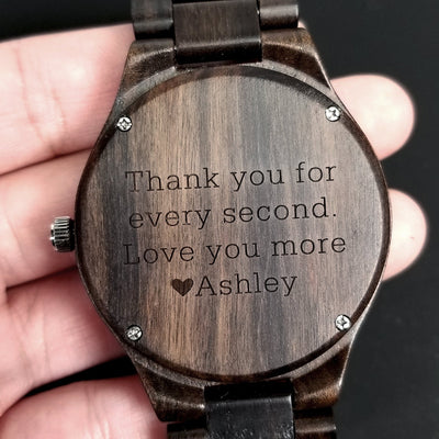 Laser Engraved Wooden Watch, Eco-friendly Gifts, For Father of the Bride, For Men, For Dad, Gift for Him, Wedding Keepsake, TBC10012