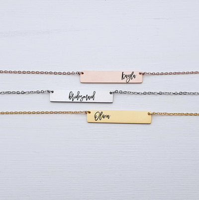 Personalized Bridesmaid Gift, Custom Name Necklace, Jewelry Personalized with Calligraphy, For Maid of Honor and Bridesmaids, LXJC100170