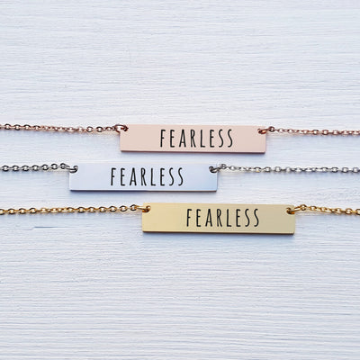 Laser Engraved Empower Bar Necklace, Badass Gift for Her, Personalized Jewelry, Rose Gold, for Girlfriend, For Wife, LXJC100118