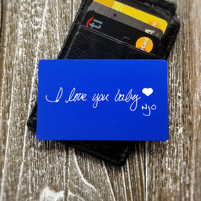 Actual Handwriting Memorial Personalized Wallet Card Custom Wallet Insert Card Metal Dad Gift for Men Gift for Him Gift for Groom from Bride