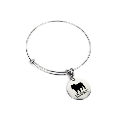 Pet Memorial Charm Bracelet, Jewelry for Dog Lover, Silhouette, Custom Name, Personalized Gift for Her, For Wife, For Mom, LXJC100190