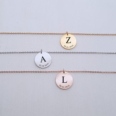 Laser Engraved Necklace Gift for Mom from Kids, Children's Initials, Birthday Gift for Her, Personalized Jewelry, LXJC100198