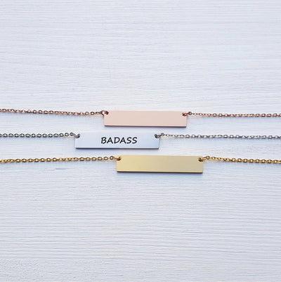 Laser Engraved Empower Bar Necklace, Badass Gift for Her, Personalized Jewelry, Rose Gold, for Girlfriend, For Wife, LXJC100119