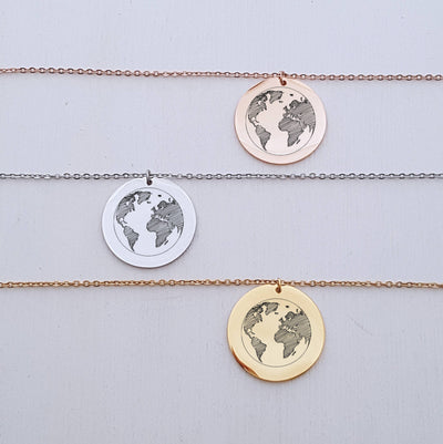 Laser Engraved Round Pendant Necklace, Traveler Gift, For Adventurer, World Map, Personalized, For Her, Rose Gold, LXJC100053