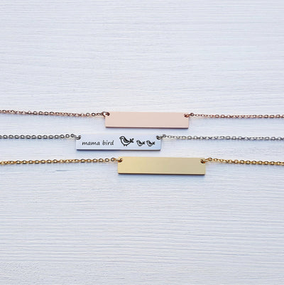 Laser Engraved Custom Name, Mama Bird Bar Necklace, Unique Gift for Mom, Personalized Rose Gold or Silver Jewelry, for Her, LXJC100108