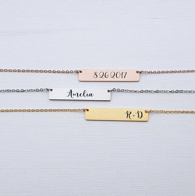 Laser Engraved Personalized Bar Necklace, Custom Name Plate, For Wife, For Mom, Rose Gold, Best Friend Gift, For Friend, LXJC100070